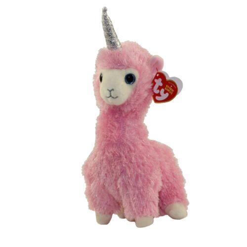 2019 Ty Beanie Boo 6 Lana the Pink Llama w/ Unicorn Plush Stuffed Toy MWMT's
