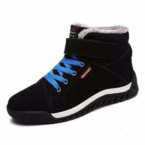 Winter Men Snow Boots Suede Ankle Sneakers Fur Lined Warm High Top Leather Shoes
