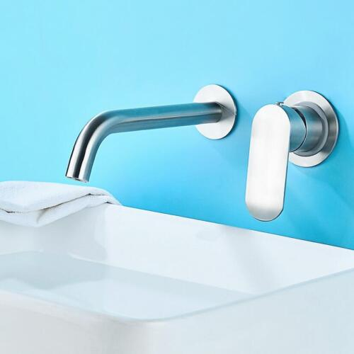 Bathroom Bath Basin Sink Faucet Tap Swivel Spout Mixer Wall Mount Brushed SUS304