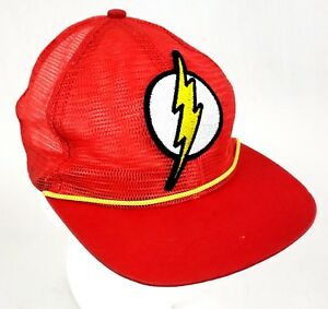 cf9875e1d6a Vintage DC Comics The Flash Full Mesh Snapback Hat Cap Six Flags ...