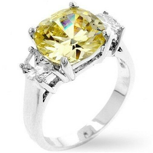 Silver Cocktail Ring Citrine Yellow Cubic Zirconia Triplet Size 9 10 USA Seller