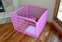 Heavy Duty Dog Pet Exercise Play Pen Fence Yard Portable Panels Kennel Cage Pink