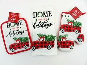 5 Pc Set Christmas Red Truck Snow Kitchen Hand Towels Pot Holders Oven Mitt New