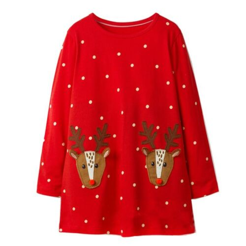 UK Christmas Toddler Kids Baby Girl Xmas Casual Long Sleeve Tunic Dress Jumper