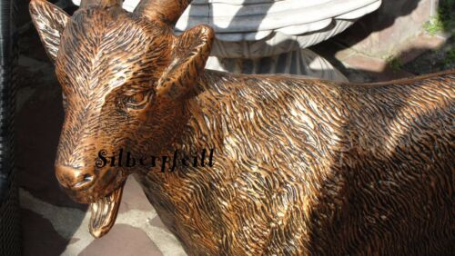 KUNSTBEMALUNG Geißbock Ziege Figur Deko Geissbock Deko Ziegenbock Bronze Optic