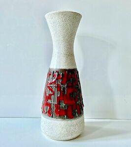 SCHLOSSBERG-Vase-Keramik-70er-Fat-Lava-rot-red-WGP