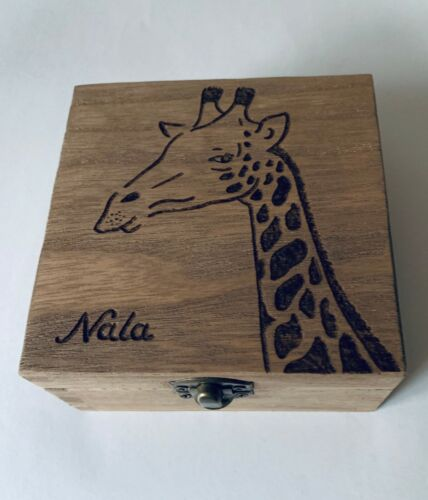 GIRAFFE Gift Box PERSONALISED Any Text Hand Engraved Valentines Gift Mothers Day