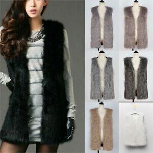 Womens Winter Warm Vest Waistcoat Gilet Sleeveless Coat Faux Fur Jacket Outwear