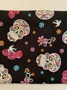 Halloween-Day-Of-The-Dead-Skull-Glitter-Fabric-David-Textiles-By-The-Yard