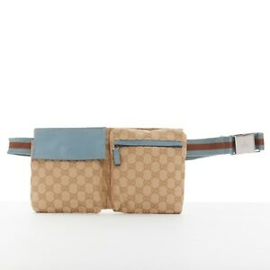 b9c1c4a53741bd GUCCI GG brown monogram canvas blue leather web pouch fanny pack ...