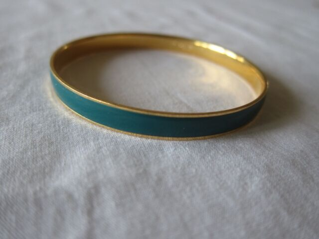 J. Crew Womens Teal Gold Thin Hand Enameled 14K Gold Plated Brass Bangle