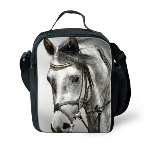 Insulated Lunchbag Pug Horse Print Shoulder Kids Boys School Cooler Storage Bag