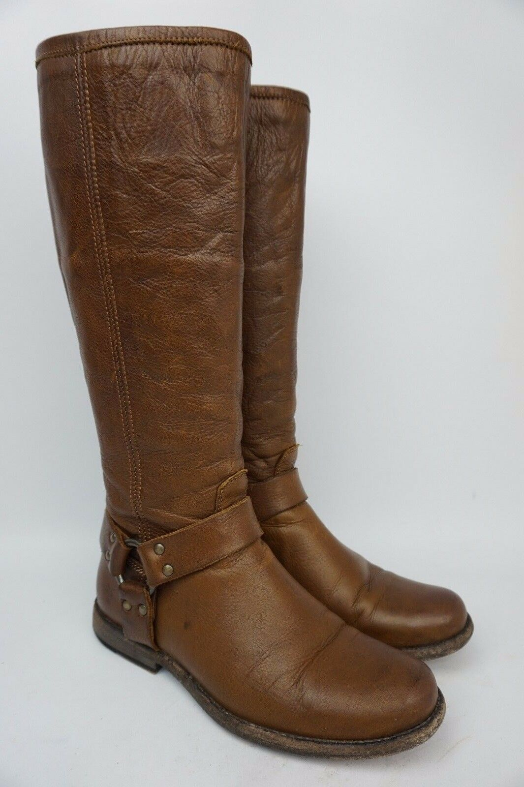 Frye Women's Phillip Harness Tall Washed Cognac Soft Leather Boots Size 7.5