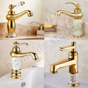 Antique Gold Jade Diamond Copper Kitchen Sink Bathroom Basin Mixer Taps Fauce