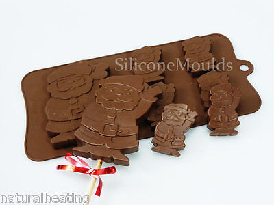 4+1 WAVING SANTA Christmas Novelty Chocolate Silicone Cake Lolly Mould Candy