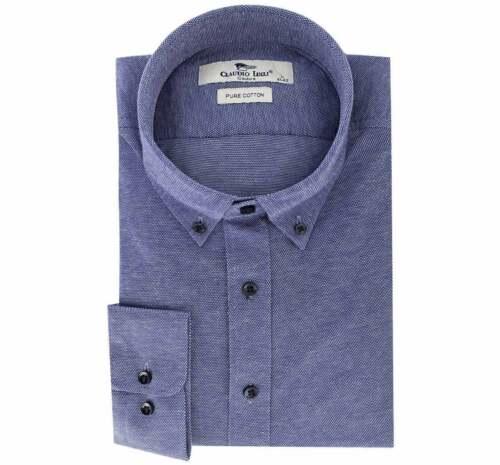 Claudio Lugli Cotone Mercerizzato Camicia Da Uomo Formale Blu Navy X