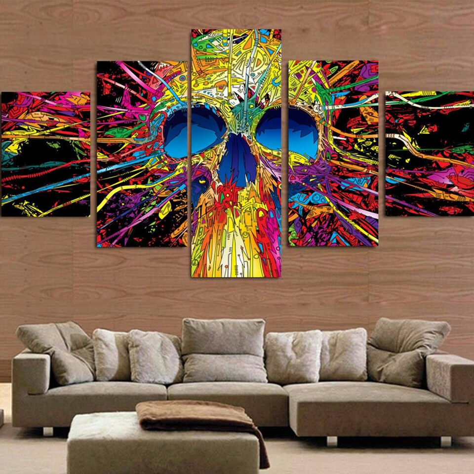 Trippy Psychedelic Skull Painting 5 Panel Canvas Print Wall Art