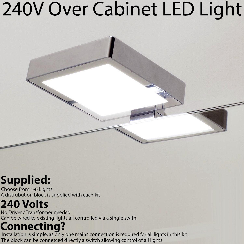 Over Cabinet Light 240V NATURAL Weiß LED SQUARE Chrome Bathroom Downlight