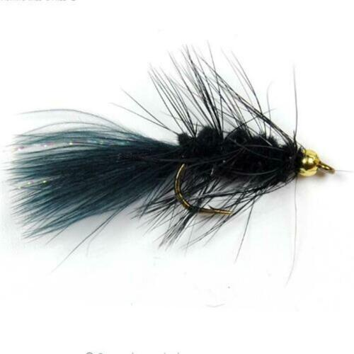 10PCS Streamer Woolly Bugger Fly Black Color with Crystal Flash Tail Golden Head