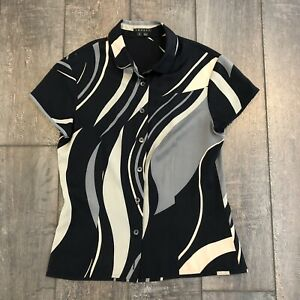 Theory-Women-039-s-Button-Down-Blouse-Silk-Short-Sleeve-Size-Small
