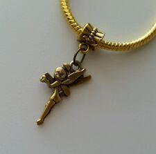 Disney Fairytale Tinker Bell Dangle Charm Bronze Gold Tone European Bracelet Us