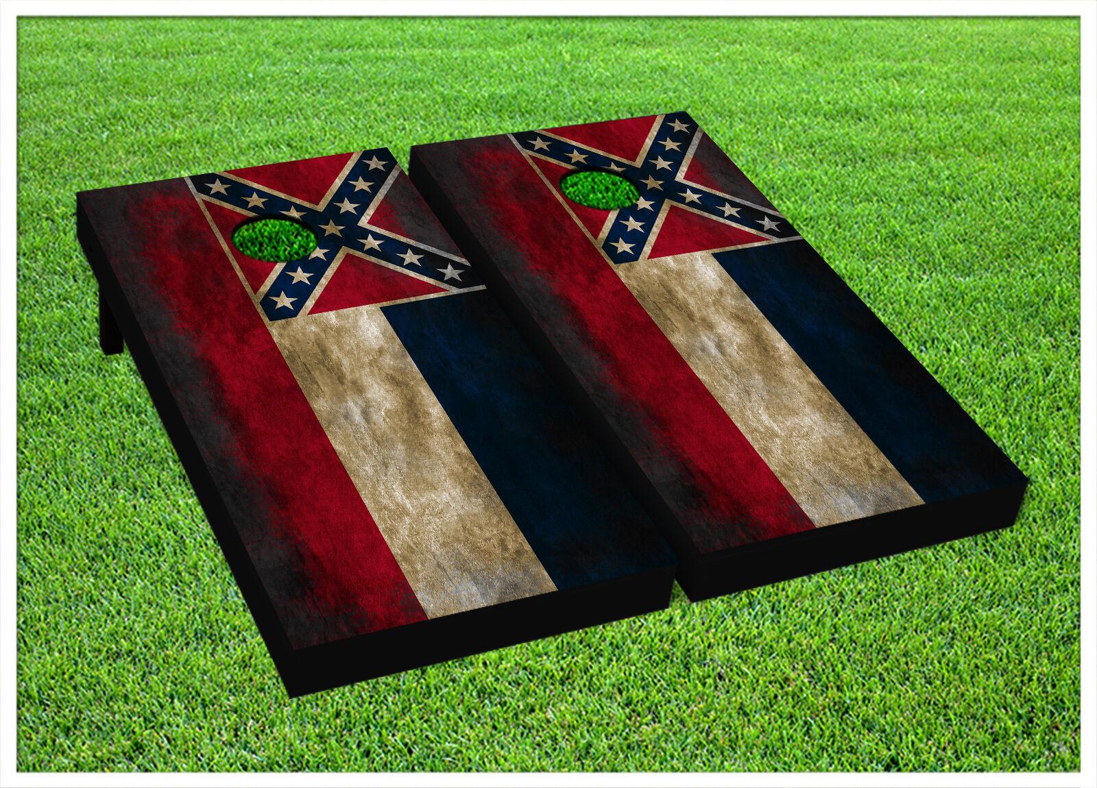VINYL CORNHOLE BEANBAG Boards Vintage Mississippi Flag Wraps 1122