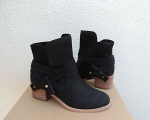 56f20071920 Details about UGG ELORA BLACK LEATHER ANKLE WRAP BOOTS, WOMEN US 6.5/ EUR  37.5 ~NIB