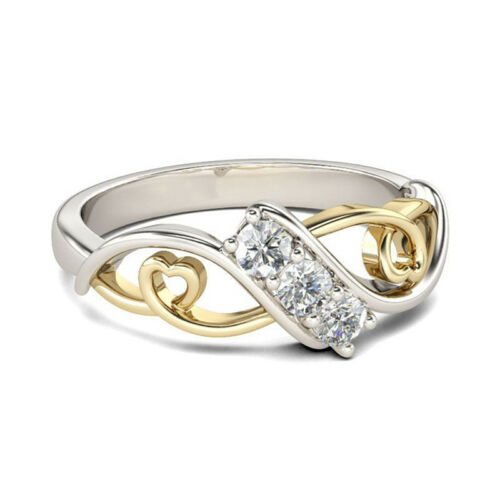 Heart-shaped Two-color Zircon Ring Creative Fashion Lady Ring Simple Jewelry LD