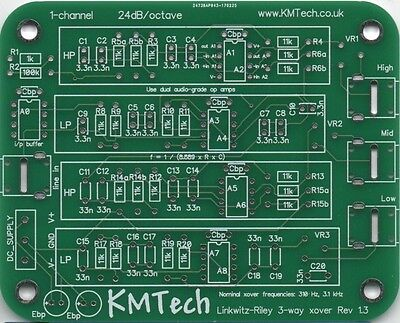 NEW ! Linkwitz-Riley 3-way active filter by KMTech PCB DIY v1.3