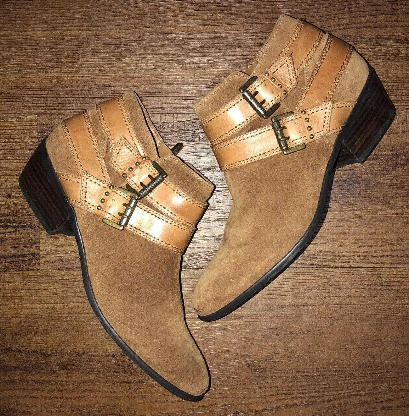 Sam Edelman Womens 9 M Pippen Brown Suede Leather Chelsea Ankle Zip Booties