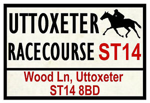HORSE RACING ROAD SIGNS (UTTOXETER) - FUN SOUVENIR NOVELTY FRIDGE MAGNET GIFT