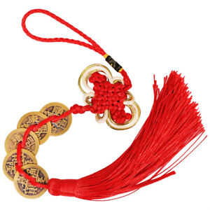 2Pcs-Chinese-Feng-Shui-5-Coins-Pendant-China-Knot-Tassel-Lucky-Car-Hanging-Decor
