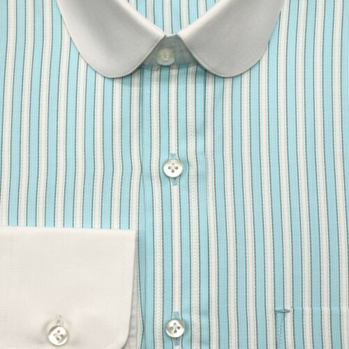 Homme Club Col Chemise Sea Green Stripe patraque oeillères ronde vintage Shelby Gent