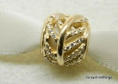 58b6b98ec 100 Authentic PANDORA 14k Solid Gold Light as a Feather Clear Charm 750831