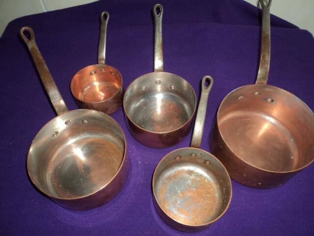 ancienne serie de casseroles cuivre massif 6 kg700