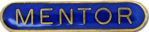 Mentor Pin Badge in Blue Enamel With Rounded Edge