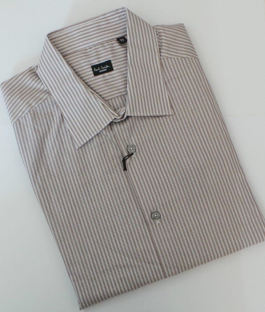 Paul Smith Camicia Taglia 16.5 Extra Large Marronee a Righe Slim Fit