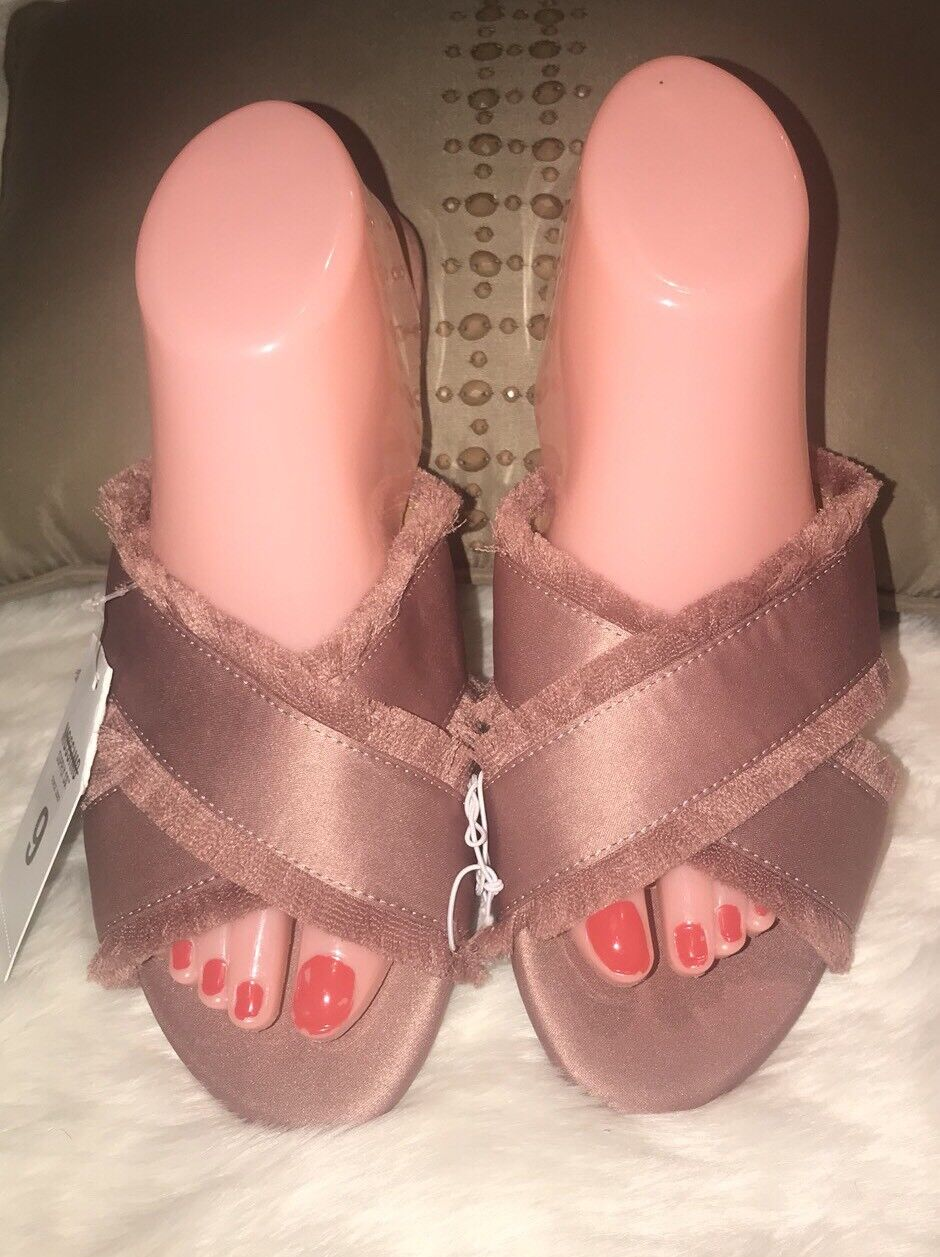 NWT Mossimo Sandals Texture Satin Pink Slip On Criss Cross Sandals Mossimo Women's Sz 9 990108