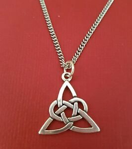 Celtic-Necklace-Sterling-Silver-925-Pendant-stainless-steel-chain-Trinity-knot