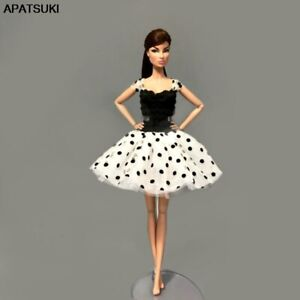 Fashion-Black-White-Tutu-Dress-For-Barbie-Doll-Clothes-Party-Gown-For-1-6-Doll