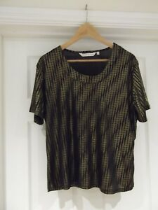 Ewm Pure Classics Black Gold Short Sleeve Party Top Evening Wear Uk Size 18 20 Ebay