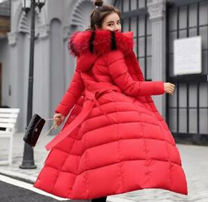 Womens-Ladies-Quilted-Winter-Coat-Puffer-Fur-Collar-Hooded-Long-Parka-Jacket-UK