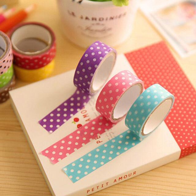 Roll 15mm Japanese Washi Tape Dot Print Book Paper Sticker Decorative Craft 1pc