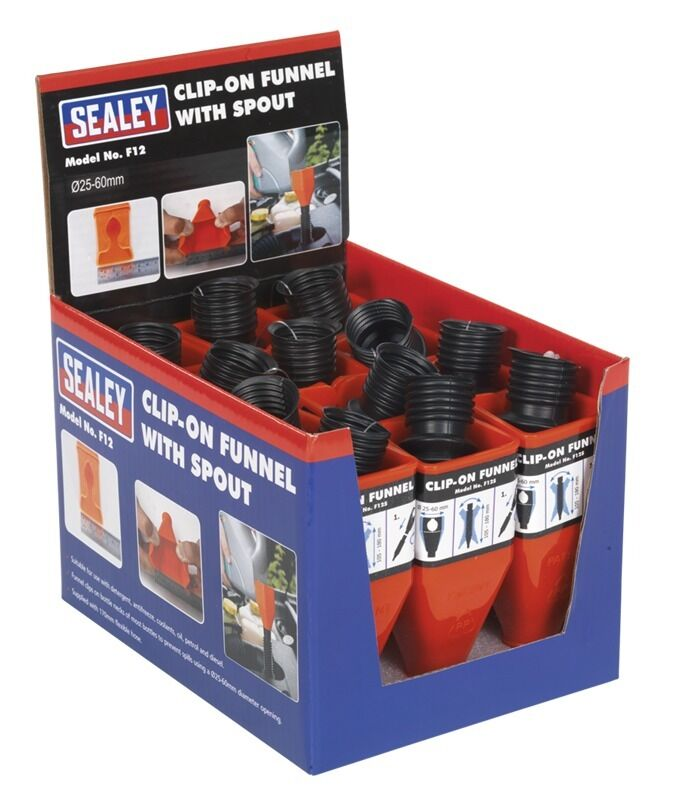 Sealey Clip-On Funnel with Spout - Display Box of 12 F12