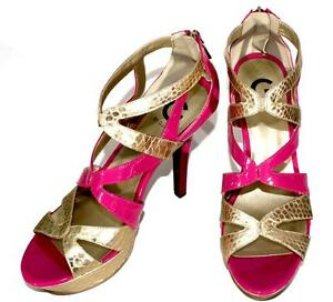 df56e3303 Guess High Heel Shoes Stiletto Strappy Sexy Neley Hot Pink Gold Zip ...
