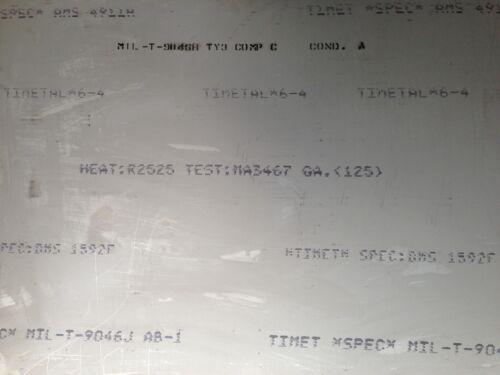 """TITANIUM SHEET 6AL-4V .125/"""" X 12/"""" X 12/"""""""