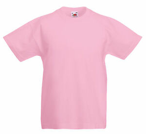 c4ee0867 FRUIT OF THE LOOM PLAIN PINK CHILDS BOYS GIRLS T SHIRT TEE ALL SIZES ...