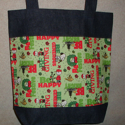 handmade snoopy quilted tote bag shopping bag