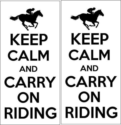 Humour//Fun x 2 VINYL STICKERS 24cm x 10cm KEEP CALM AND CARRY ON RIDING