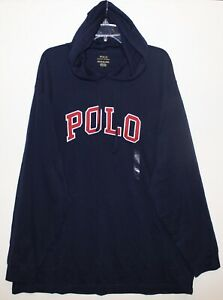 Polo-Ralph-Lauren-Mens-Navy-Blue-Letterman-Hoodie-L-S-Cotton-T-Shirt-NWT-Size-S